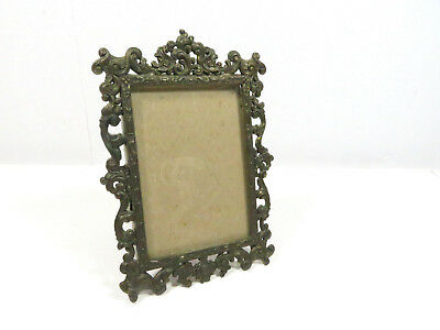 """Vtg. ACTION Ornate Small Brass Picture Frame Made in Italy 3 1/2"""" x 5"""" Vintage"""