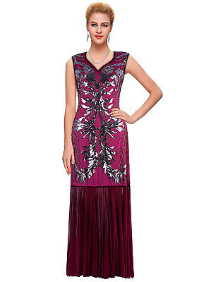 Long Prom Dresses 1920s Flapper Costumes Great Gatsby Lace Evening Gowns M 8 10