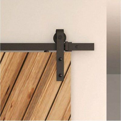 6FT Steel Sliding Track Barn Wood Door Closet Hardware Set Black Sharp Arrow DV