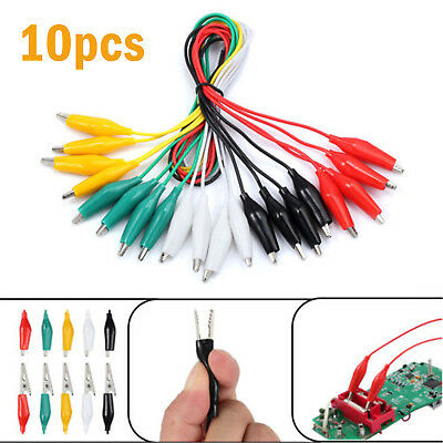 """10x 20"""" Electric Double Ended Alligator Clamp Crocodile Clip Jumper Wire Cable"""