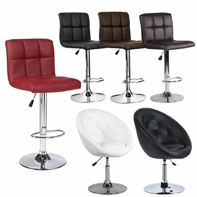 Modern Set of 2/4 Bar Stools Leather Adjustable Swivel Pub Chair Multi Colors EK