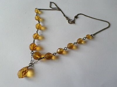 "Vintage glass bead necklace with clasp/chain issue 15"" or 38 cm"