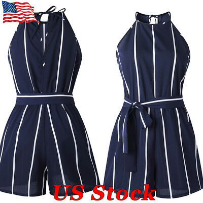 US Women Summer Casual Sleeveless Playsuit Ladies Short Jumpsuit Striped Romper