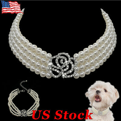 Crystal Necklace Choker Style Rhinestone Pearl Pet Dog Collar for Dog Chihuahua
