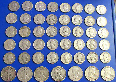 Silver coin lot 40  1934-1964 quarters + 4 walking liberty 3 Franklin