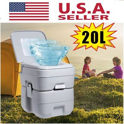 20L 5Gallon Portable Toilet Outdoor Camping Hiking Garden Flush Potty Commode BE
