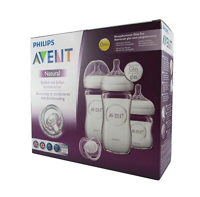 PHILIPS AVENT 4tlg. Neugeborenen-Set, SCD291/02, Glas, 125-240ml NEU transparent