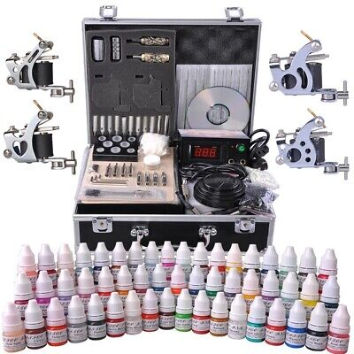 Complete Tattoo Kit 54 Color Ink 4 Machine Guns Set LCD Power Supply Equipment