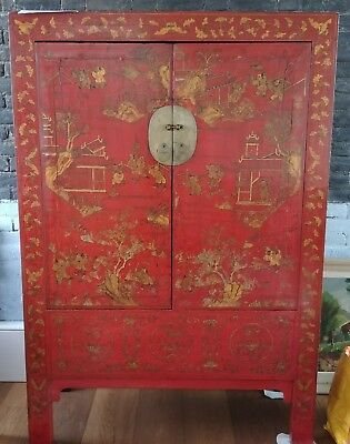 Antique Chinese Red Lacquer Wedding Chest Cupboard Armoire Gold Decorations