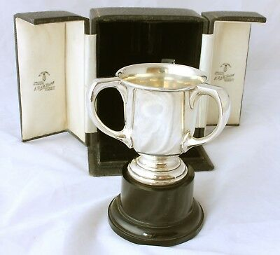 Solid Silver Three Handle Boxed Sports Trophy The Martin Cup Laing Glasgow 1935