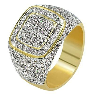 e32a23651735f 18K GOLD ICED Out Hip Hop Wedding Engagement Bling MICROPAVE CZ ...