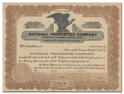 National Properties Company Stock Certificate