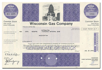 Wisconsin Gas Company Stock Certificate