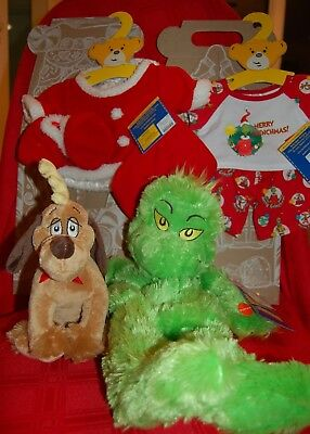 NWT 2012 Build A Bear Workshop 20 in. Grinch Santa Outfit Sound Mini Max the Dog