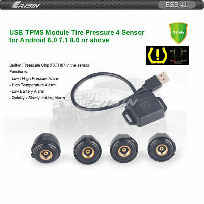 Erisin USB TPMS Module Tire Pressure 4 Sensors for Android 8.0 8.1 Stereo ES341