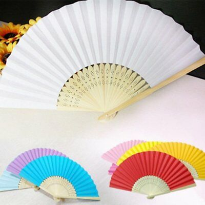 DIY Summer Bamboo Folding Hand Held Fan Chinese Dance Party Solid Color Fan AZ