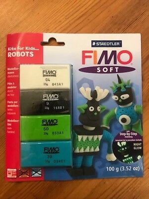 Fimo Soft Kit For Kids - Robots - unused, 100g, includes night glow clay