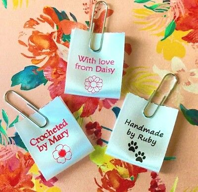 """""""Handmade"""" personalised sew-in craft labels for fabric, satin ribbon"""