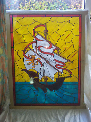 Stunning 4'x3' stained glass double-glazed unit with unique sailing ship design