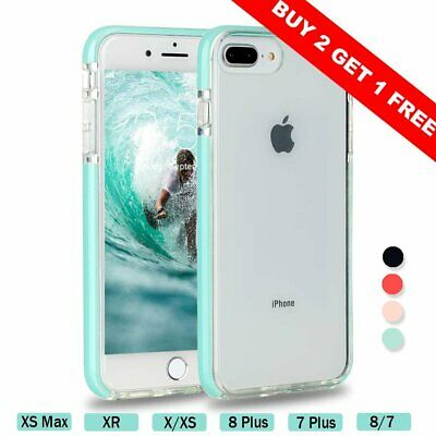 For iPhone 7 8Plus X XR MAX Case Silicone TPU Shockproof Clear Cute Bumper Cover