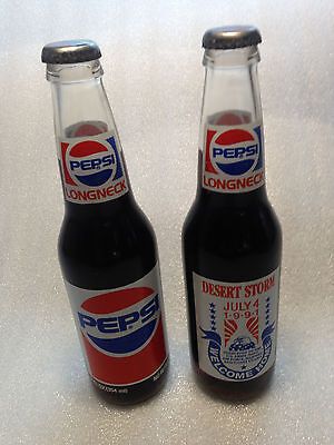 Two 1991 Full Bottles  -  Pepsi LN Commemorative  -  Desert Storm Welcome Home
