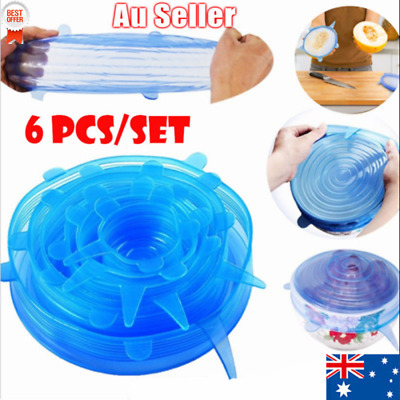 6X Silicone Reusable Food Cover Keeping Sealing Stretch Lid Container AS