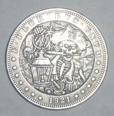 Holiday SALE Dollar Size Hobo Style SKULL PIRATE Novelty Coin 1921 Morgan