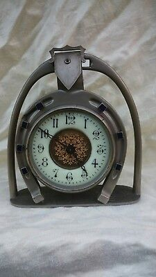 Old Horseshoe And Stirrup 8 Day mantel clock French Platfom Escapement movement
