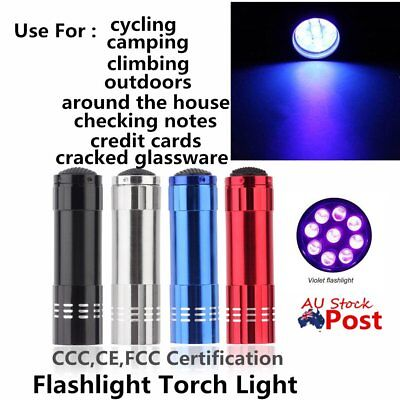 Portable Mini 9 LEDs UV Flashlight Purple Light Aluminum Alloy Torch Lamp BU
