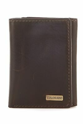 New Colorado Leather RFID Metal Plate Trifold Mens Trifold Brown,Brown