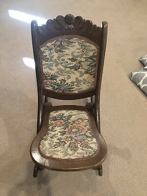 Antique Wood Victorian Style Folding Tapestry Rocking Chair Rocker