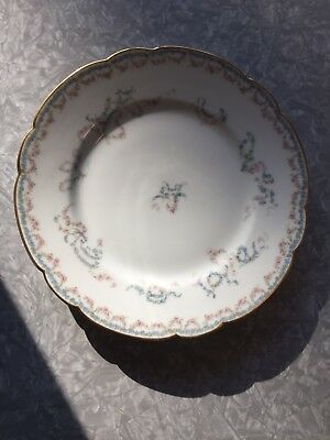 12 Haviland Limoges Salad Plates Delicate Pink + Blue Flowers Floral Gold Trim