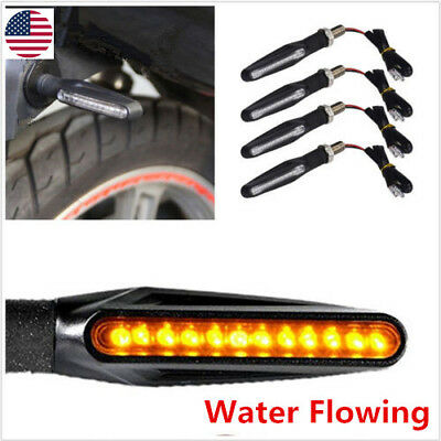 Universal Flowing Motorcycle Motorbike LED Turn Signal Indicator Light Amber