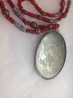 Wonderful Trade Bead Necklace with Peace Medal