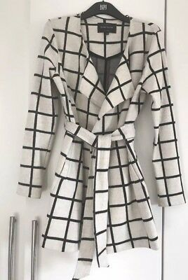 River Island Cream/beige Black Check Belted Coat/jacket Size 10 - Worn Once