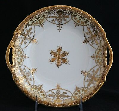 """Antique Royal Crockery RC NIPPON Gold Encrusted Moriage Hand Painted Bowl 9"""""""