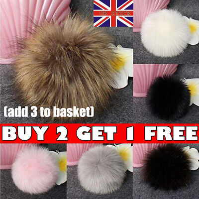 Faux Raccoon Fur Pom Pom Ball with Press Button for Knitting DIY Hat Scarf Shoes