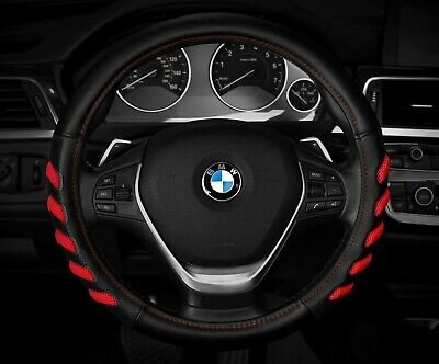 """New Black /Red Car Steering Wheel Cover  Hand Pad buffer  Size M 14.5""""  15.5"""""""