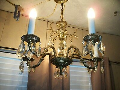 Ornate Antique Spanish 5 Arm Solid Brass Chandelier with lot's of crystals