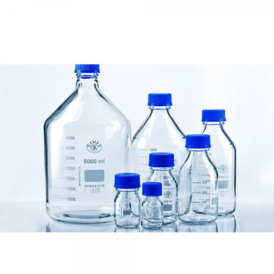 Simax Graduated Laboratory Bottle + Cap & Ring Borosilicate Glass 250ml PK of 10