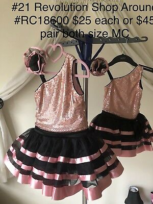 Girls Dance Costume Size Medium Child Black And Pink 2 Available Duo