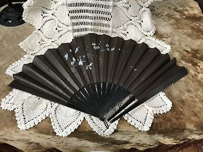 Antique Ebony Black Silk Embroidered Hand Paint Victorian Mourning Fan