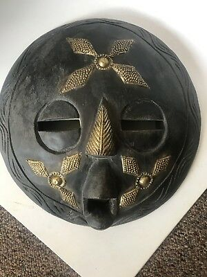 """Vintage African Ashanti Tribe Hand Carved & Painted Wooden Face Mask Ghana15"""""""