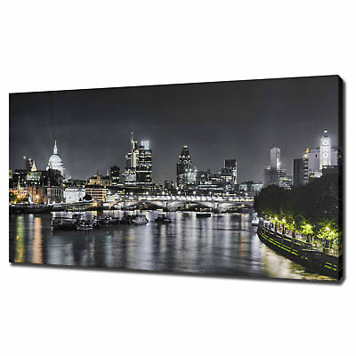 City Of London Night Skyline Canvas Print Picture Wall Art Free Fast Delivery