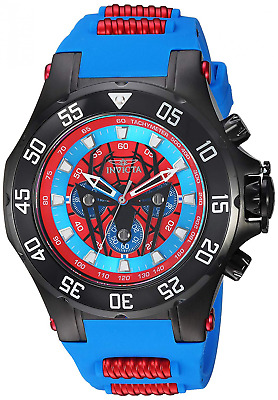 Invicta Men's 'Marvel' Quartz Stainless Steel and Silicone Watch, Color:Blue