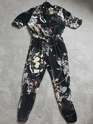 River Island Black Floral Girls Party Short Sleeve Jumpsuit Size 8 Years