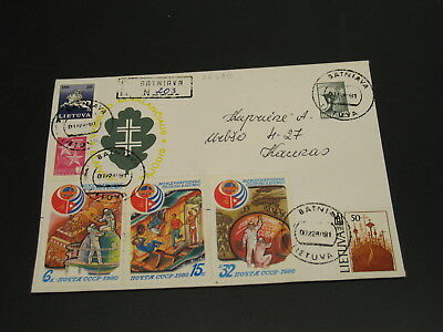 Lithuania 1991 registered stationery cover to Germany *25350
