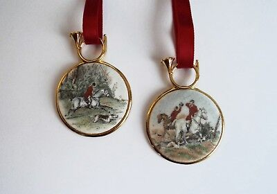 Fox Hunt and Hounds Ornaments Pair: Brand New! Hunt Horn with Fox Hunt Scene