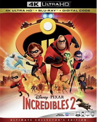 Incredibles 2 w/Slipcover (4K Ultra HD, Blu-ray, 2-Disc, Digital, 2018) New
