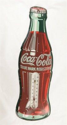 Vintage 1955 Coca Cola Soda Bottle Thermometer Metal Advertising Sign